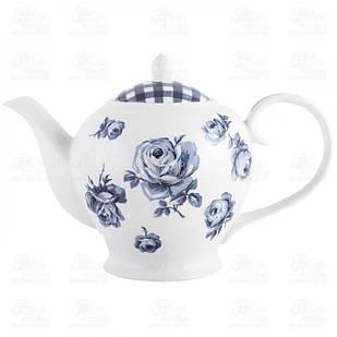 Чайник керамічний глек білий з синіми квітами