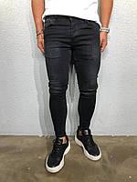 Мужские джинсы, серые, узкие, slim fit