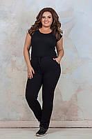 Женские спортивные брюки зауженные внизу, пояс на завязке, на флисе, р-р 50-54 Черный