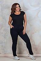 Женские спортивные брюки зауженные внизу, пояс на завязке, на флисе, р-р 50-54 Графит
