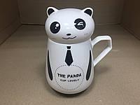Кружка-чашка с крышкой Панда 450 мл, фото 1
