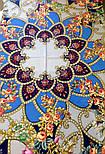 Цыганка Аза 362-14, павлопосадский платок (шаль) из уплотненной шерсти с шелковой вязанной бахромой, фото 7
