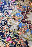 Цыганка Аза 362-14, павлопосадский платок (шаль) из уплотненной шерсти с шелковой вязанной бахромой, фото 6