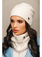 "Комплект шапка и шарф вязаные ""Хлоя"" белый 906684"