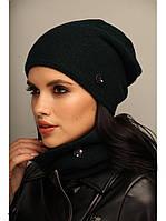 """Комплект шапка и шарф вязаные """"Хлоя"""" изумрудный 906689"""