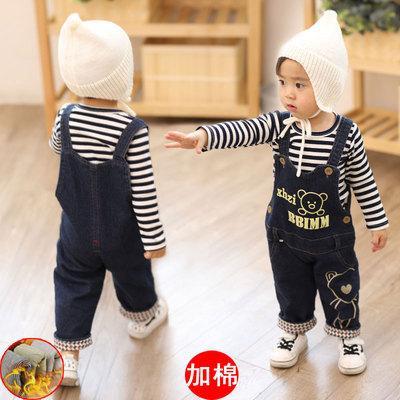 Комбинезон детский джинсовый утепленный  зима-осень 1-4 года унисекс