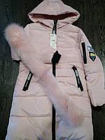 Женская куртка пуховик зимняя на синтепоне с капюшоном манжетами декоративный съёмный мех принт
