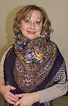 Свет мой, зеркальце 1815-15, павлопосадский платок (шаль) из уплотненной шерсти с шелковой вязанной бахромой, фото 10