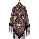 Свет мой, зеркальце 1815-15, павлопосадский платок (шаль) из уплотненной шерсти с шелковой вязанной бахромой, фото 4