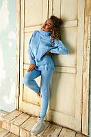 Зимний вязаный голубой женский костюм, фото 1