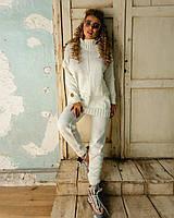 Теплый вязаный белый костюм с длинным свитером, фото 1