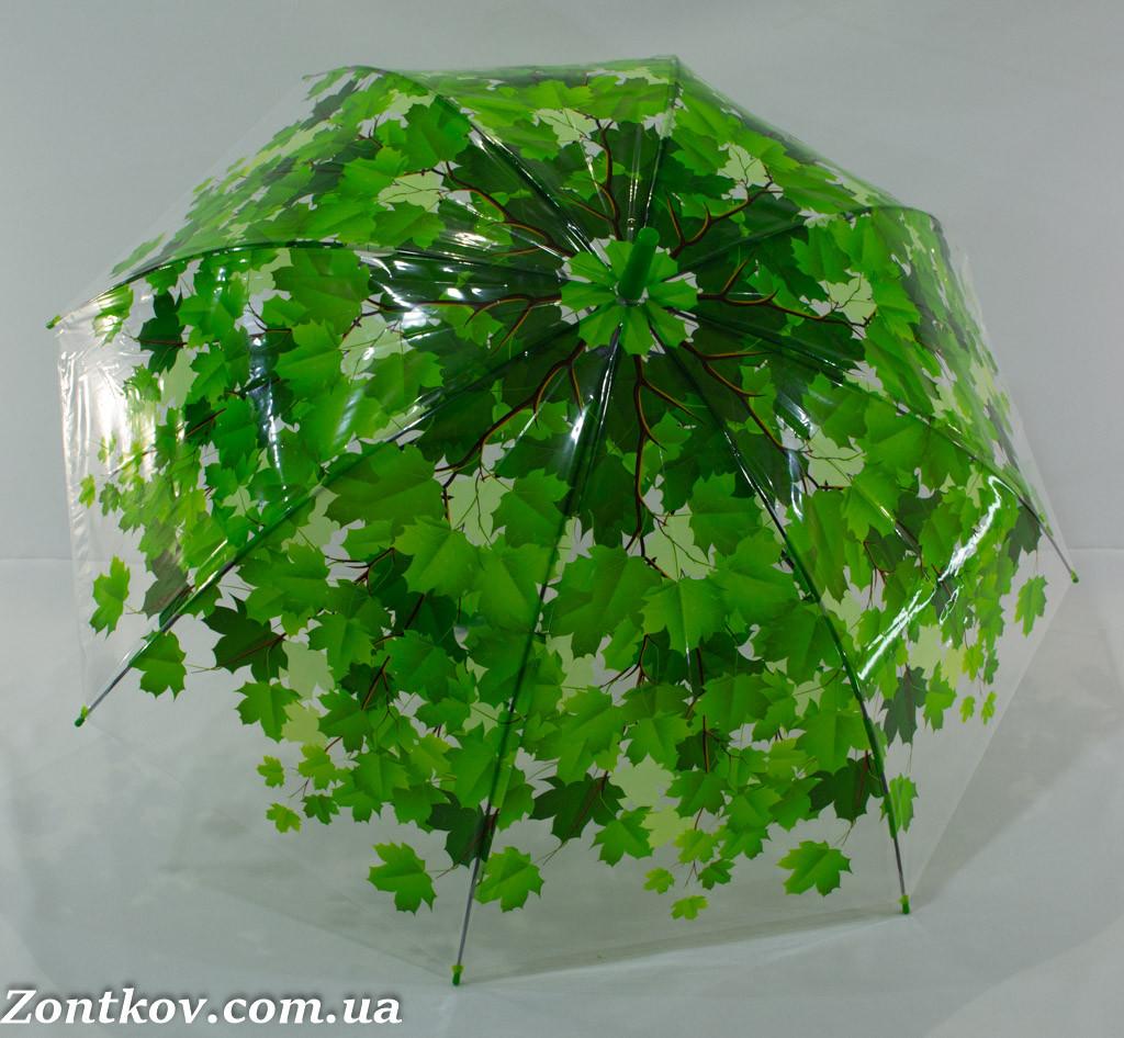 """Прозрачный зонтик трость с листьями от фирмы """"SWIFT""""."""
