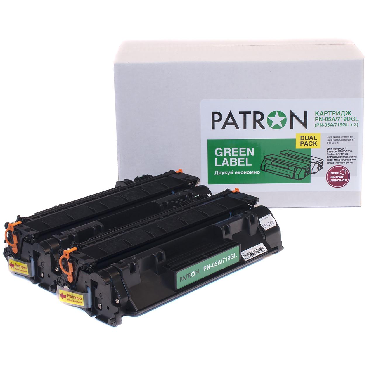 Картридж (комплект 2 шт) HP 05A (CE505A), Black, P2035/P2055, 2.3k, Patron Green, Dual Pack (PN-05A/719DGL)
