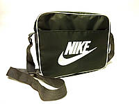 Спортивная сумка планшет Nike ( Найк) через плече, серая с белым принтом, фото 1