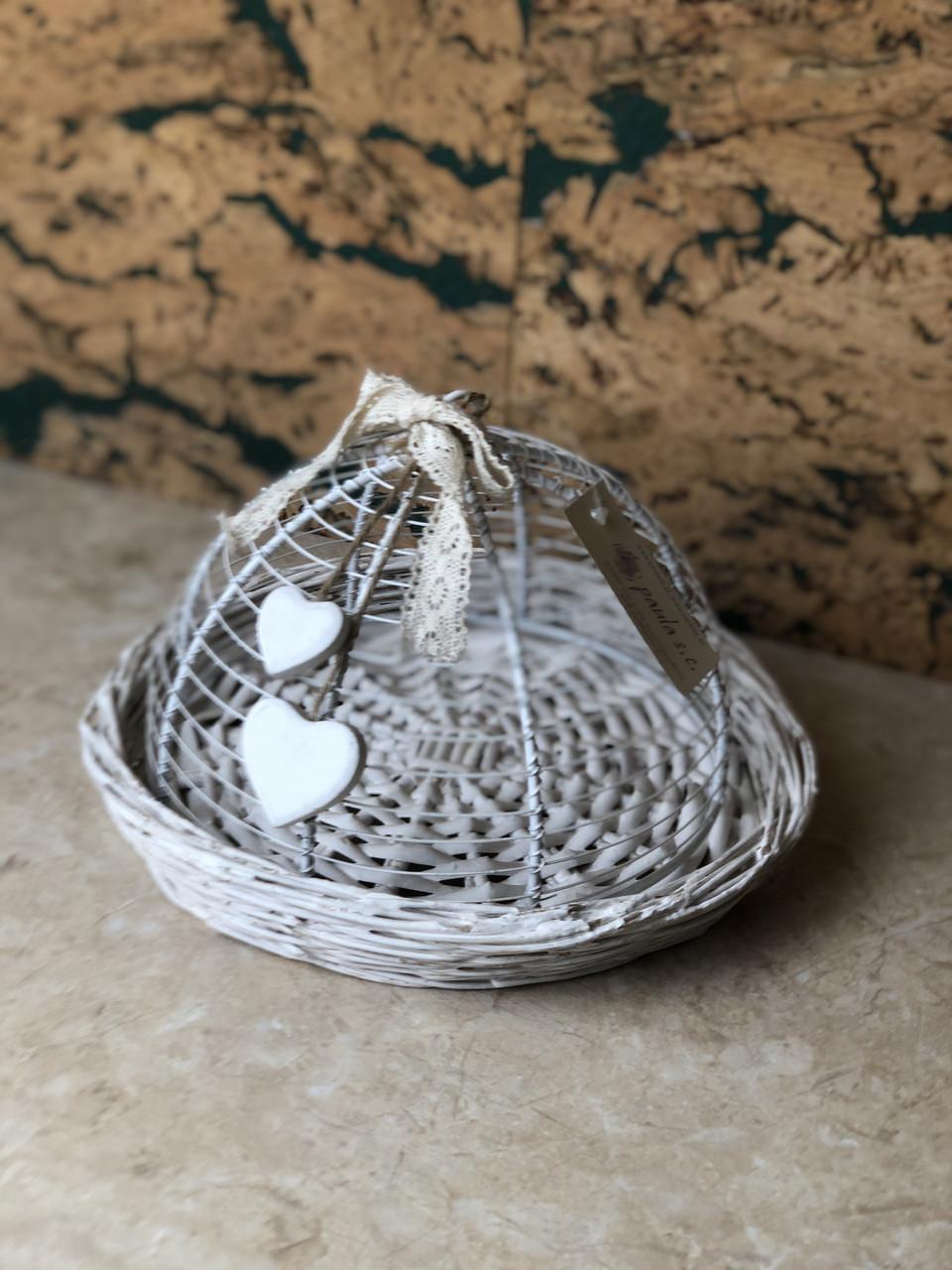 Плетена корзина біла декоративна