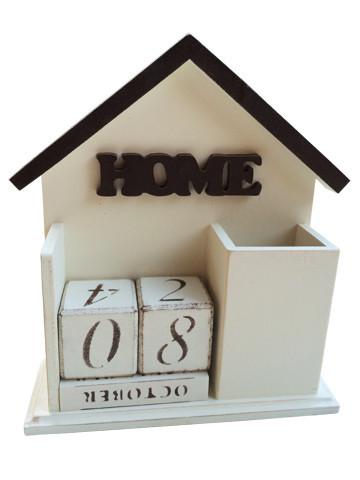 """Вечный календарь """"Home"""", на английском языке, бежевый"""