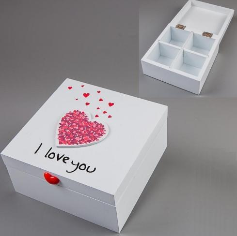"Шкатулка деревянная ""I love you"", белая, 14х14х7 см"