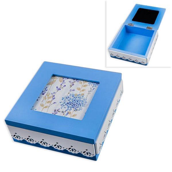 "Шкатулка деревянная ""Голубая надежда"", голубой, белый, 15х15х6 см"