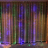 Гирлянда светодиодная Штора, с эффектом дождя, 240LED, размер 200х200см(2х2м), цвет мульти, фото 1
