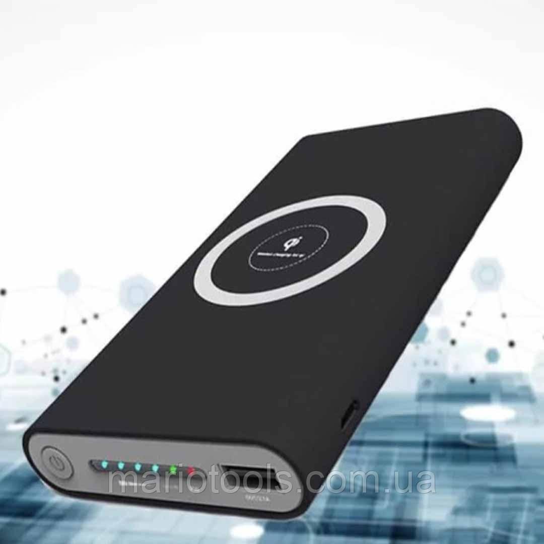 Универсальное зарядное устройство с беспроводной зарядкой и солнечной панелью Power Bank 20000 mAh Черный