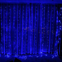 Гирлянда светодиодная Штора, с эффектом дождя, 280LED, размер 200х200см(2х2м), цвет синий, 8 режимов+статика, фото 1