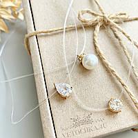 Свадебное украшение на шею жемчужная бусина, кулон на леске в золотистой оправе