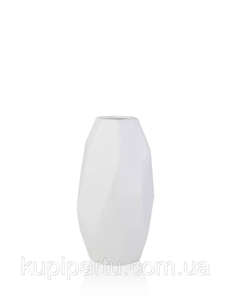 Ваза полигональная Грани белая керамика 8.5*8.5*19 см Гранд Презент 2500-19
