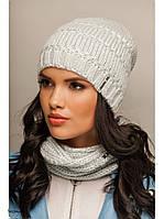 """Комплект шапка и шарф вязаные """"Лолита"""" небесный 906930"""