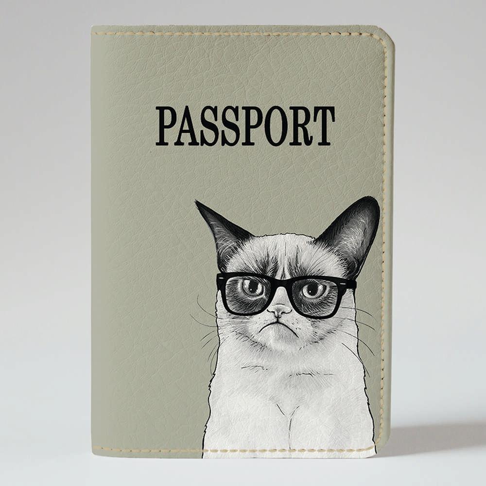 """Обложка на паспорт, """"Унылый кот"""", экокожа"""
