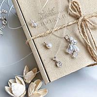 Свадебные украшения на шею, колье для невесты, свадебная подвеска с жемчугом, кулон с веточкой, страз на леске