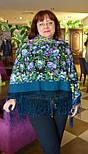 Диво дивное 1798-12, павлопосадский платок (шаль) из уплотненной шерсти с шелковой вязанной бахромой, фото 5