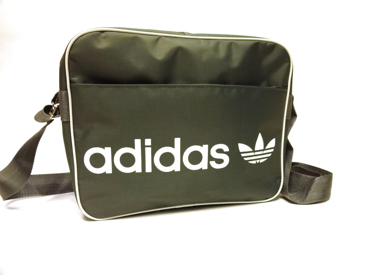 Спортивная сумка планшет Adidas (Адидас) через плечо, серая с белым принтом реплика
