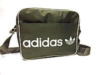 Спортивная сумка планшет Adidas (Адидас) через плечо, серая с белым принтом реплика, фото 1