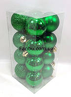 Новогодние елочные зеленые шары 4 см(1уп-16штук), фото 1