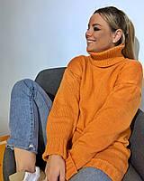 Свитер женский теплый вязаный уютный удлиненный под горло яркие цвета Ssva478