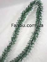 Отрезная ветка ели зеленая с белым, искусственная-мягкий пластик-ПВХ( длина 3метра), фото 1