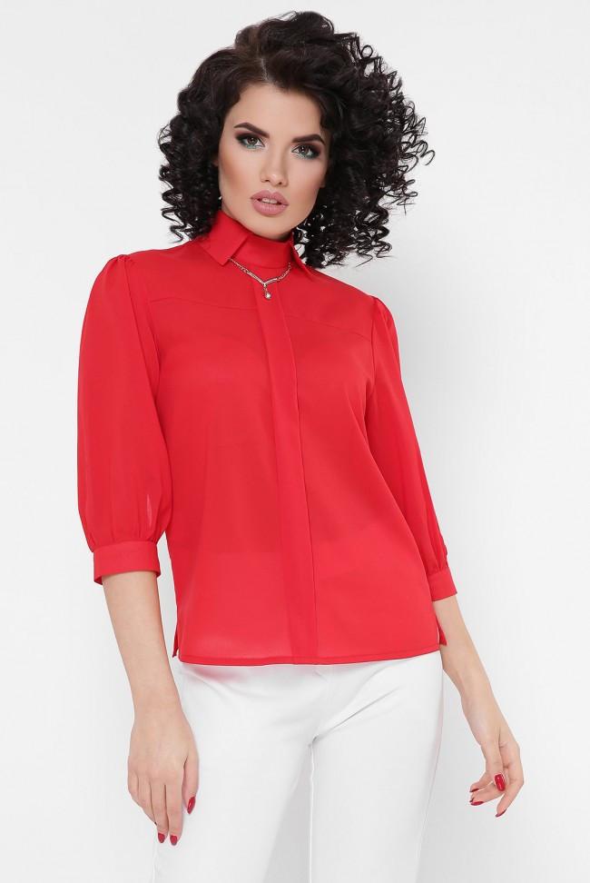 """Легкая шифоновая женская блуза с рукавами фонариками три четверти """"Arya"""" красная"""