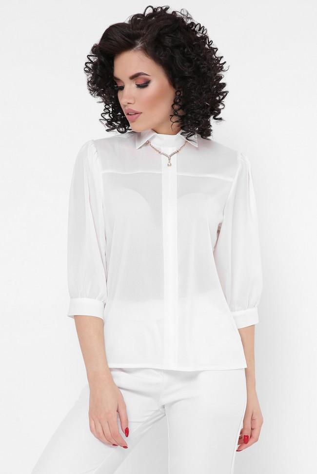 """Шифоновая нарядная женская блуза с рукавами фонариками три четверти """"Arya"""" белая"""
