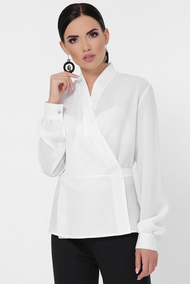 """Эффектная женская белая блуза в офис на запах с пояском  """"Clare"""""""