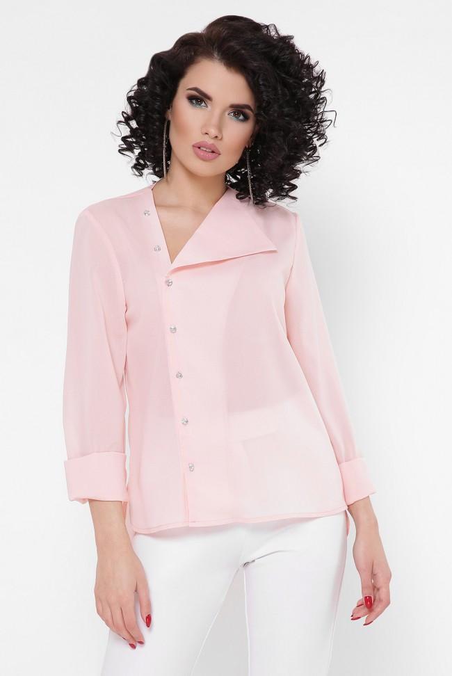 """Легкая женская шифоновая блузка с застежкой сбоку и откидным воротником """"Constance"""" персиковая"""