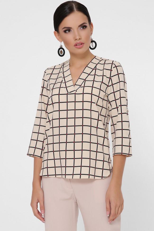 """Жіноча бежева блузка в смужку з рукавами три чверті і v-подібним вирізом """"Daisy"""""""