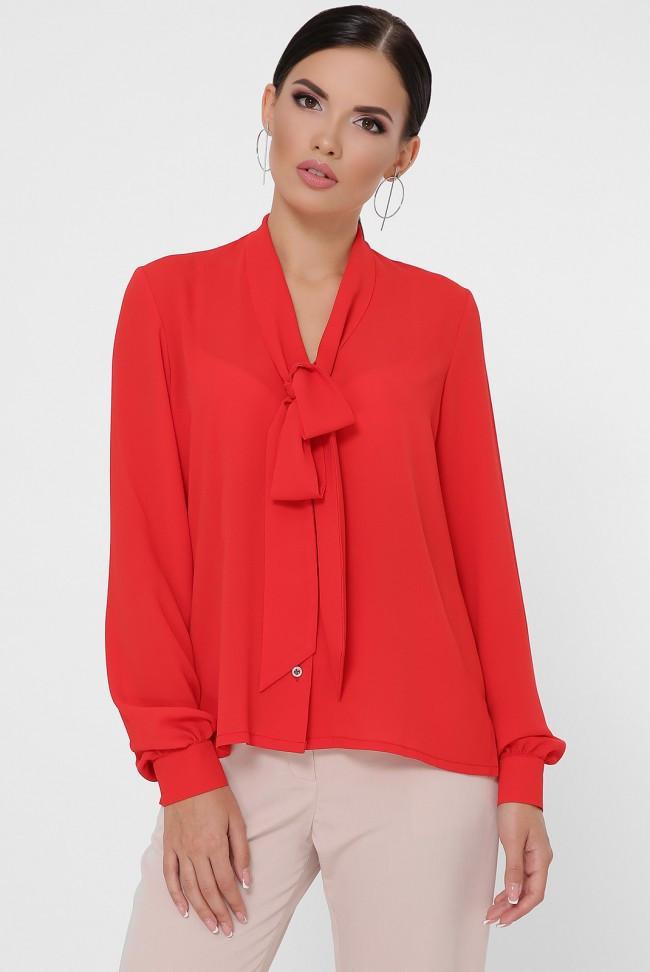 """Женская базовая шифоновая рубашка с воротничком галстуком на завязке и присобраными длинными рукавами """"Maryam"""" красный"""
