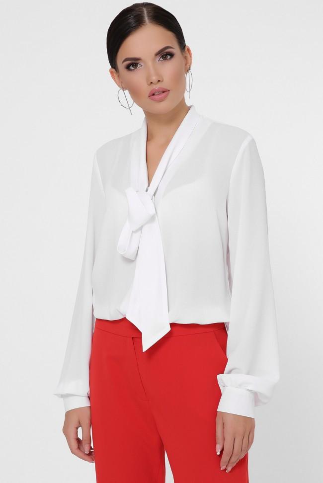 Женская базовая шифоновая рубашка с воротничком бантом на завязке и присобраными длинными рукавами