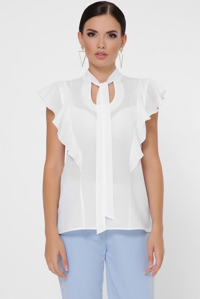 """Женская легкая шифоновая блузка с короткими рукавами-воланами и вороткиком-галстуком """"Peony"""" белый"""
