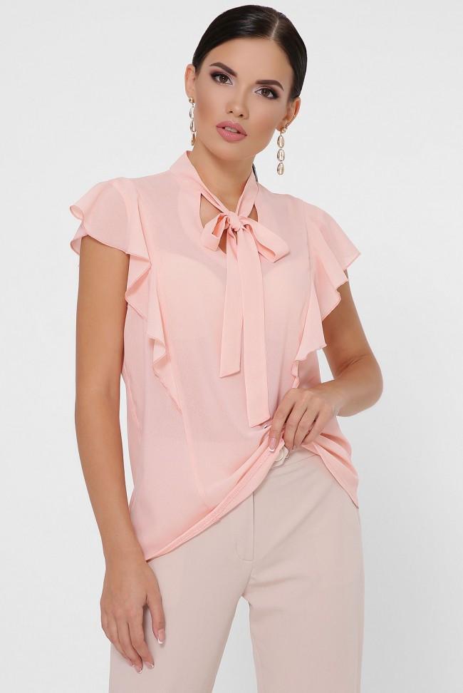 """Женская легкая шифоновая блузка с короткими рукавами-воланами и вороткиком-галстуком """"Peony"""" персиковый"""