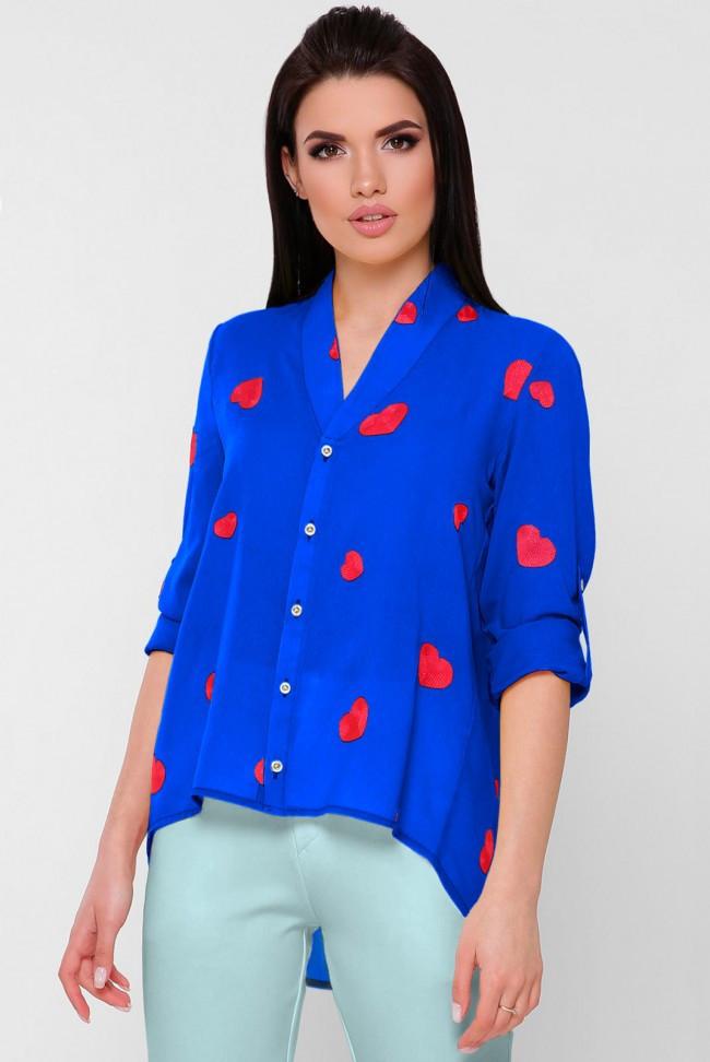 """Женская шифоновая ярко-синяя блузка с регулирующимися рукавами и v образным вырезом принт сердечки """"Gabby"""""""