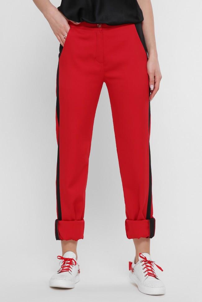 """Стильные женские красные брюки прямого кроя с черными лампасами """"Sheron"""""""