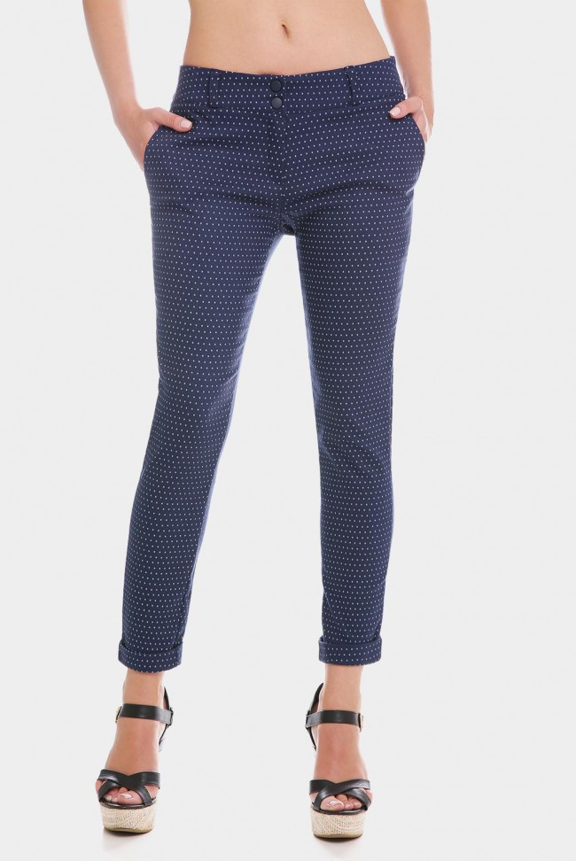 Женские укороченные синие брюки с манжетами в мелкие цветы  7/8 COTTON BENGALIN DESIGN
