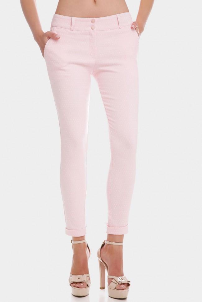 Женские укороченные розовые брюки с манжетами в мелкий горошек 7/8 COTTON BENGALIN DESIGN BRK-286F