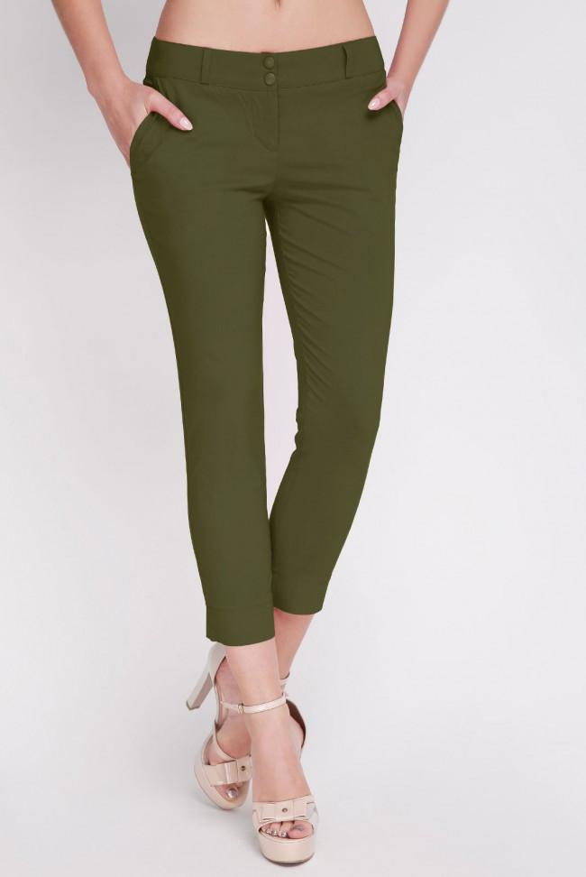 Укороченые женские брюки из натурального материала с карманами хаки Брюки BENGAL-BATAL BRK-014G большие размеры